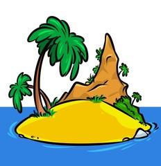 Illustration ocean Island beach palm