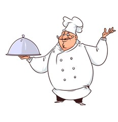 Chef cook demonstration  cartoon illustration