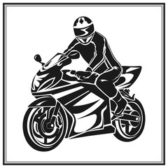 Biker riding a motorcycle . Bikers event or festival emblem.