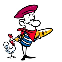 French long loaf chicken character cartoon illustration