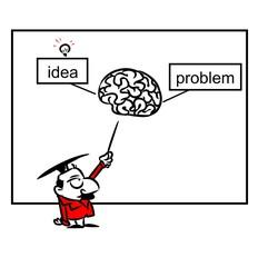 Scientific demonstration idea problem brain cartoon illustration