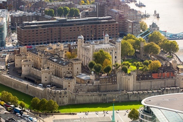 Tower of London view. Panorama from the 32 floor