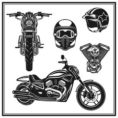 motorcycle front view and side view engine, helmets quality  set