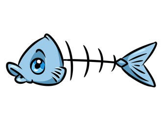 Fish skeleton cartoon illustration  isolated image character
