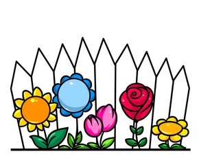 Garden flowers  palisade cartoon illustration minimalism