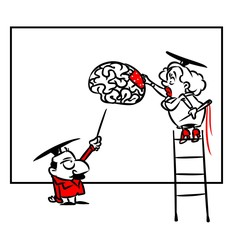 Scientific psychologist brain cartoon illustration