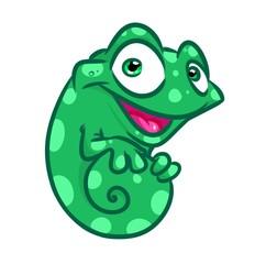 Cheerful chameleon cartoon illustration isolated image animal character