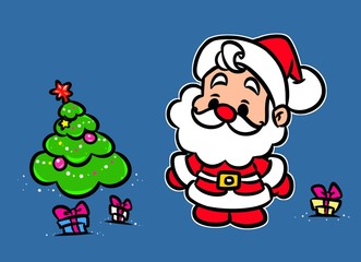 Christmas Santa Claus Mini Tree gifts cartoon illustration new Year