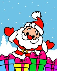 Christmas Santa Claus gifts mini cartoon illustration   isolated image character