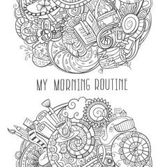 cartoon doodles, morning routine