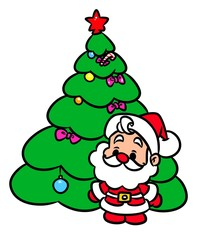 Christmas tree Santa Claus mini cartoon illustration   isolated image character