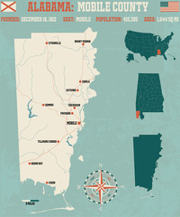 Large and detailed map and infos about Mobile County in Alabama