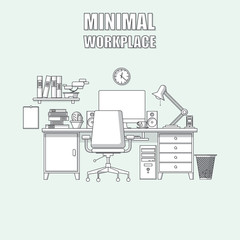 Illustration of modern workplace in room. Creative office workspace.