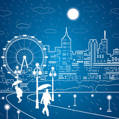 Vector lines night city, the rain, man and woman under the umbrella, goes through the park,  ferris wheel, vector design art