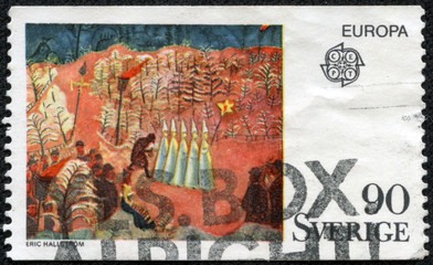 stamp printed by Sweden, shows New Year's Eve at Skansen