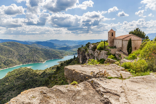View of the Romanesque church of Santa Maria de Siurana in Catal