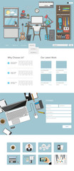 Quality One page website design template. Vector Design