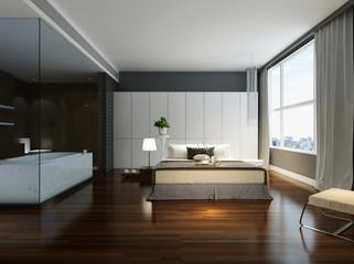 Schlafzimmer mit angrenzendem Bad in Farbe