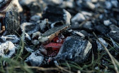 Texture embers after fire closeup