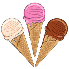 Set of tasty ice cream color. Vector illustration. Isolated objects on a white background