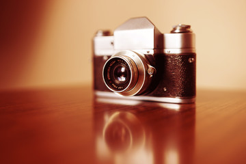 Vintage camera bokeh background
