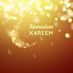 Beautiful golden moon, Ramadan Kareem greeting on gold bokeh background