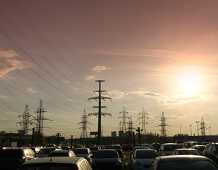 Horizontal sunset city power lines background