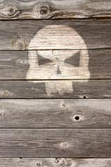Wall Mural - totenschädel auf bretterwand
