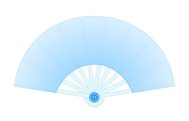 Blank Soft Blue Folding Fan Decorated with Blue Flower isolated on White Background Illustration