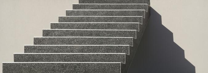 Freitragende Außentreppe aus Beton mit dunkler Kieselbeschichtung im Panoramaformat Self-supporting external staircase made of concrete with dark gravel coating in panorama format