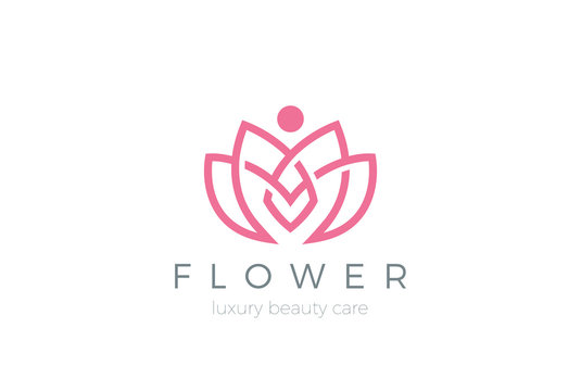 Lotus Flower Logo abstract Beauty Spa salon Cosmetics