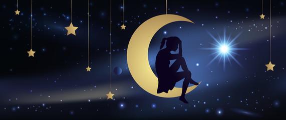 Amour - Lune - Ciel étoiles - Femme