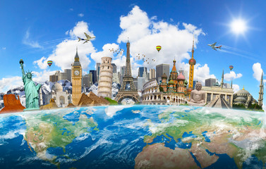 Fototapete - Famous landmarks of the world grouped together on planet Earth