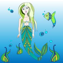 stylized mermaid,mermaid with fish,vector illustration