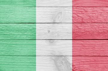 Italian flag on a wooden plank