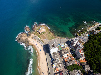 Aerial view of Farol da Barra (Barra Lighthouse) and Salvador cityscape, Bahia, Brazil