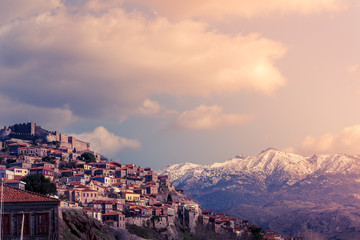 Panoramic view of beautiful Molyvos village in Lesvos island, Greece