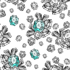 boho crystals seamless repeatable pattern. Vector background