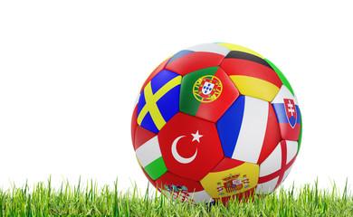 Fußball mit Nationalflaggen im Gras