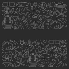 Vector doodle pictures of beach vacation and tropical sea life