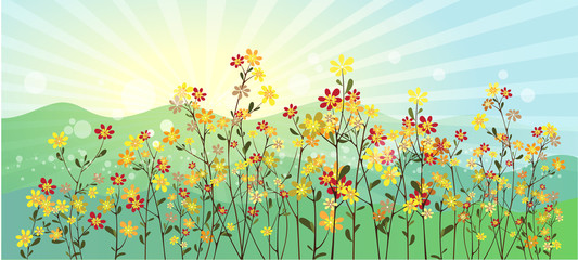 The green meadow with flowers