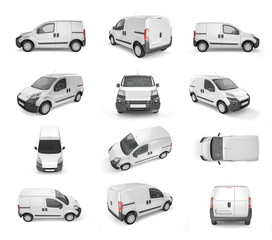 12 different view of pickup car on white background - mock up. Easy ad some creative design or logo on this blank space. 3D Illustration