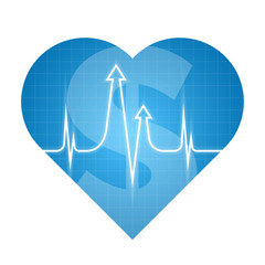 Business heart pulse concept. Vector illustration of finance development process. Isolated blue heart silhouette, heartbeat line with arrows shape. Element for web, print, presentation, social network
