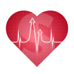 Business and science heart pulse concept. Vector illustration of medical and finance development process. Isolated red heart silhouette, heartbeat line with arrows shape. For internet, social networks
