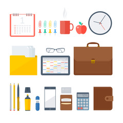 Business and office workplace items. Vector flat illustration of top view object set. Isolated business and office workspace accessories on white background. Infographic elements for web, presentation