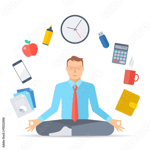 meditation businessman office. flat vector concept illustration meditation manager meditates at work in the lotus pose businessman office l