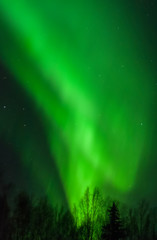 Cone of green aurora light