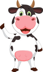 Cute cow cartoon waving