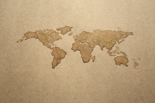 Earth Map, Coffee Painting on paper