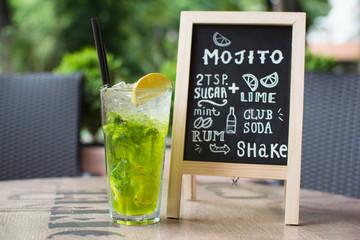 Mojito Chalk lettering. Cocktail and recipe on the blackboard.